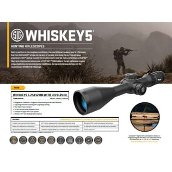 SIG WHISKEY5 SCOPE, 5-25X52MM, 30MM, SFP, MOA MILLING HUNTER